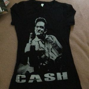 Tops - Johnny Cash Middle Finger Band T Shirt